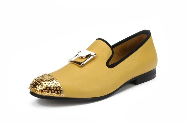 New Handmade Men White Leather Loafers With Gold Buckle Wedding And Party Dress Shoes - Habazoo
