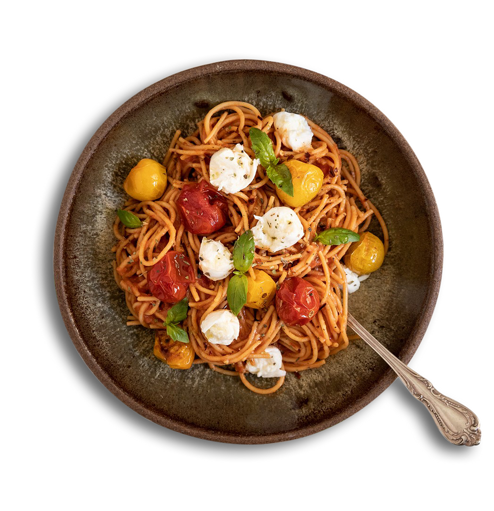 Roasted Tomato and Mozzarella Spaghetti