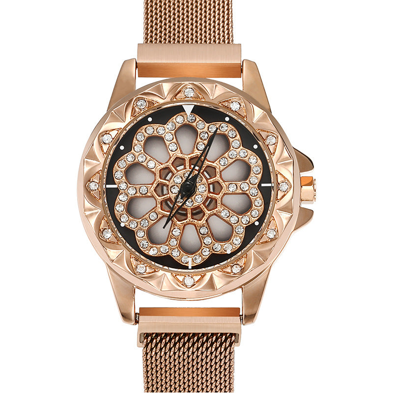 Dimini Magnetic Watch with Rotating Dial Quartz Lady Watch