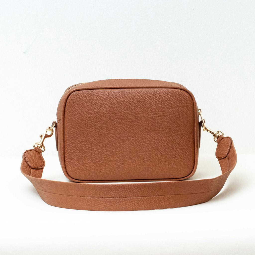 Angela Roi Vegan Grace Cross-body in Brown, back view with strap