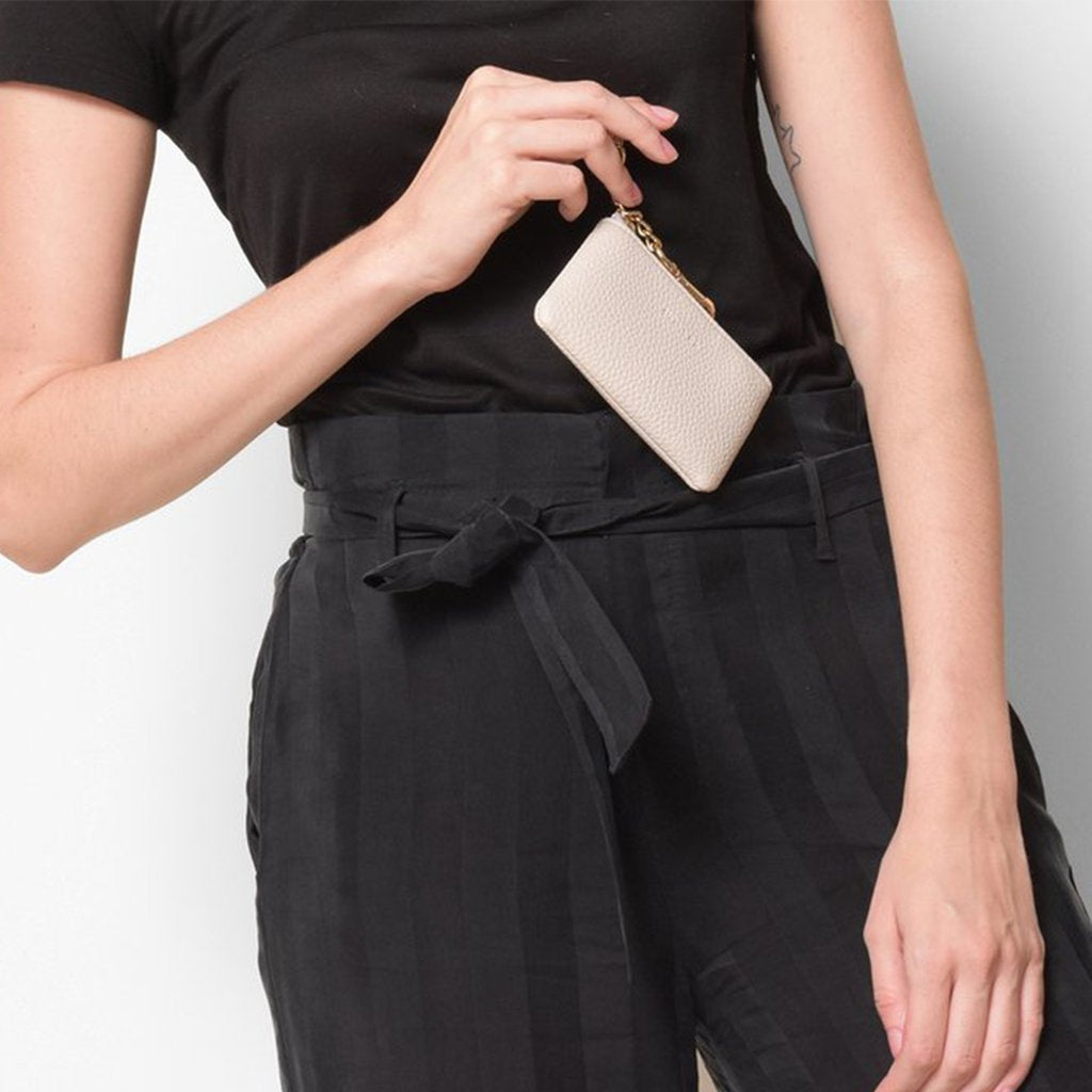 Angela Roi Vegan Zuri Card Pouch in Cloud, with model