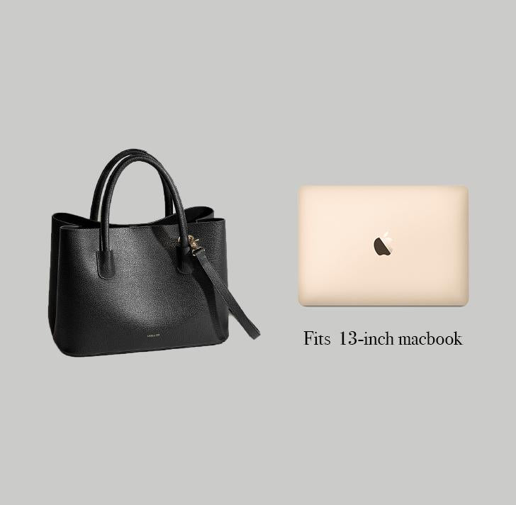 Angela Roi Vegan Cher Tote in Bordeaux, side-by-side with Macbook