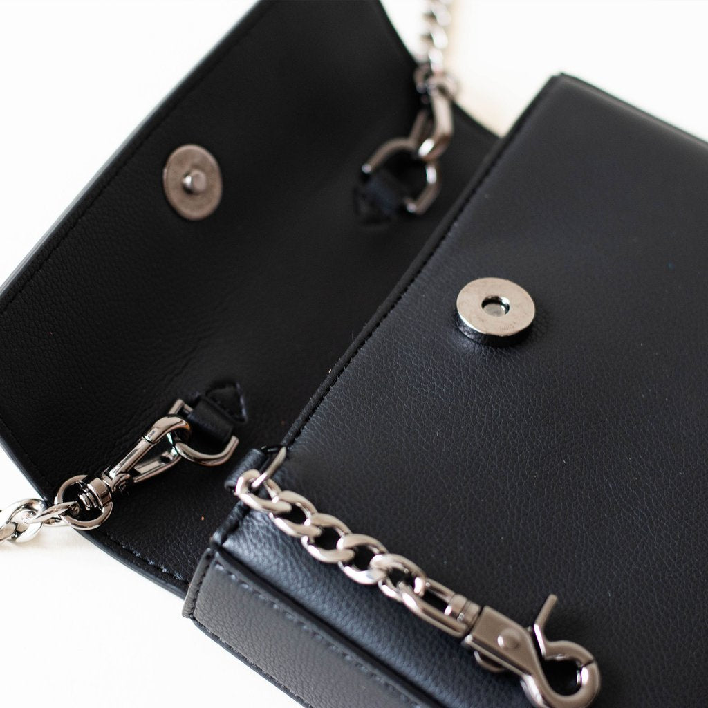 Angela Roi Vegan Hamilton Mini Chain Cross-body in Black, hardware