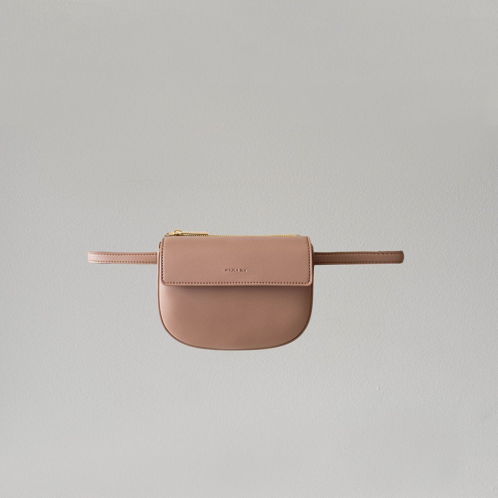 Hamilton Belt Bag / Cross-body in Taupe front view