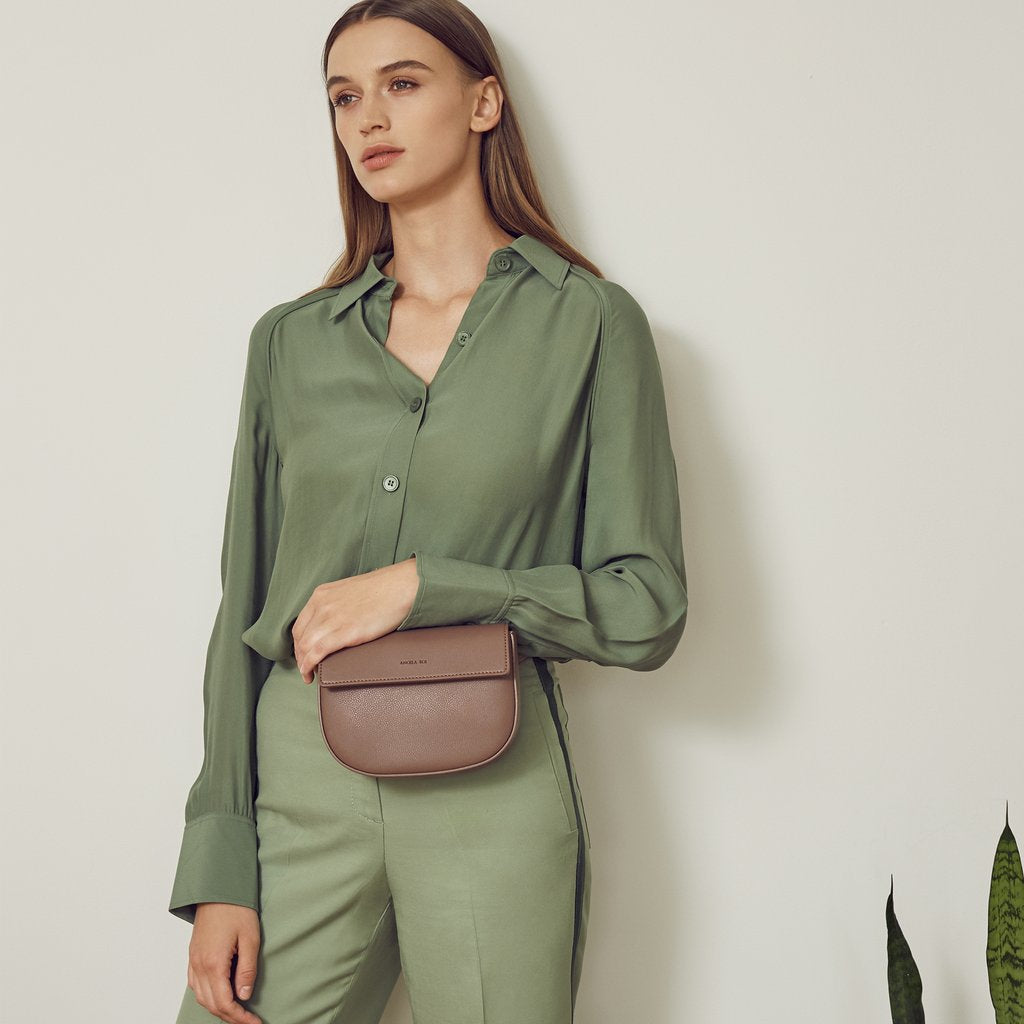 Hamilton Belt Bag / Cross-body in Taupe on model
