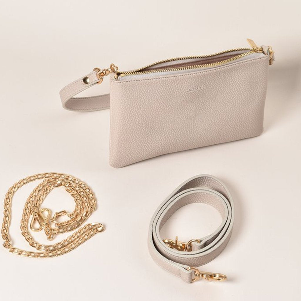 Angela Roi Vegan Zuri Multifunction Pouch in Cloud, with strap and chain