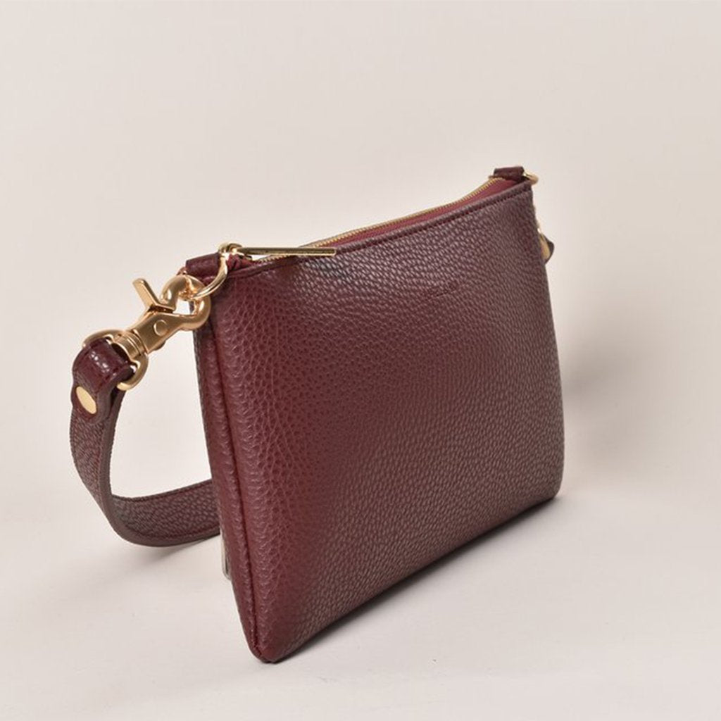 Angela Roi Vegan Zuri Multifunction Pouch in Bordeaux, front view