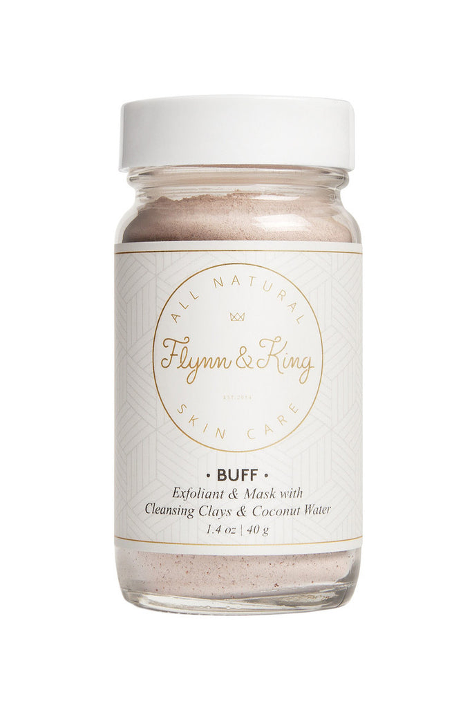 Flynn & King Buff Facial Exfoliant and Mask with Cleansing Clays & Coconut Water, 1.4 oz size