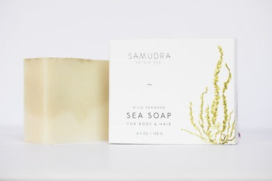 Samudra Skin & Sea Hair & Body Sea Soap, bar and packaging