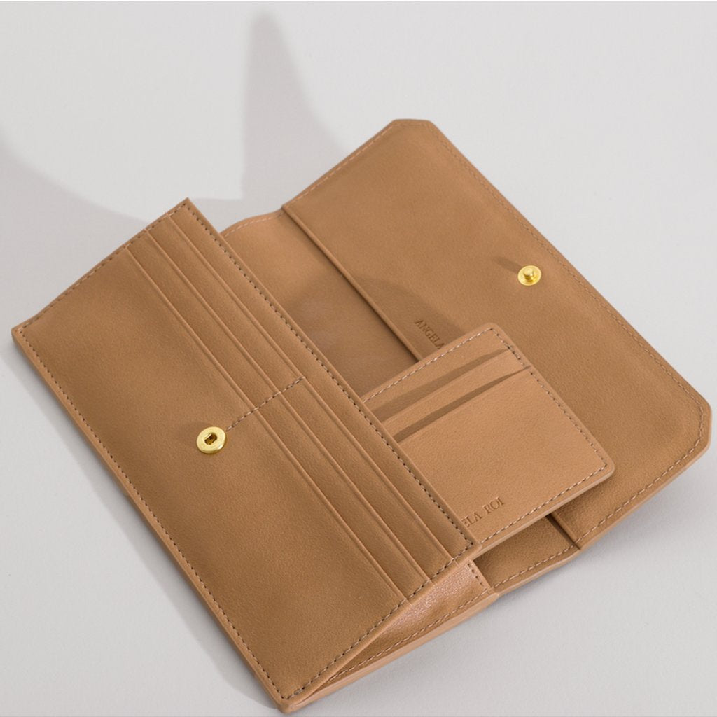 Olivia Slim Wallet in Beige with card case