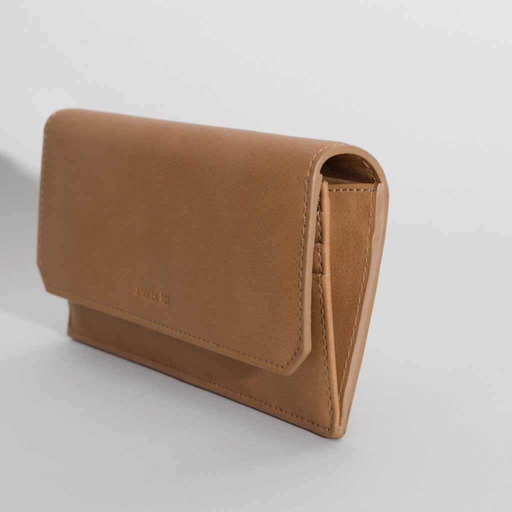 Olivia Slim Wallet in Beige 3/4 view