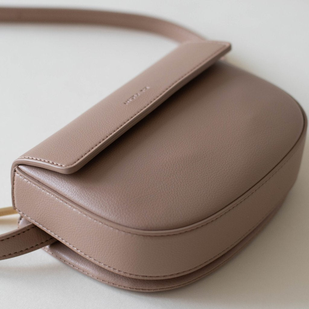 Hamilton Belt Bag / Cross-body in Taupe 3/4 view