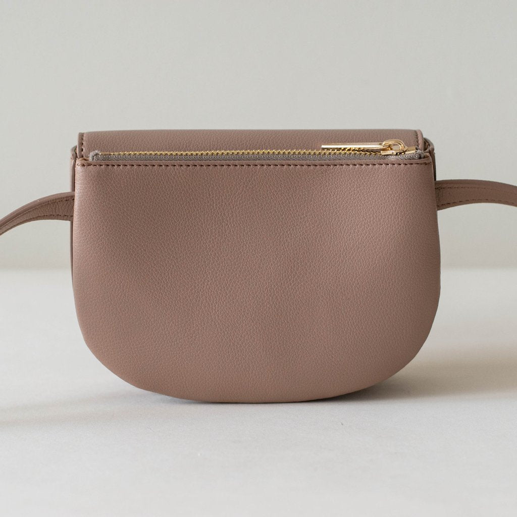 Hamilton Belt Bag / Cross-body in Taupe back view