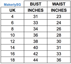 makerlysg size chart tops