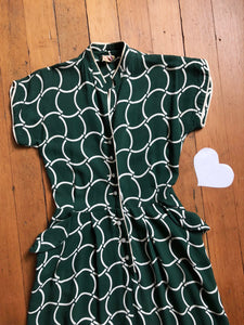 vintage 1940s green day dress