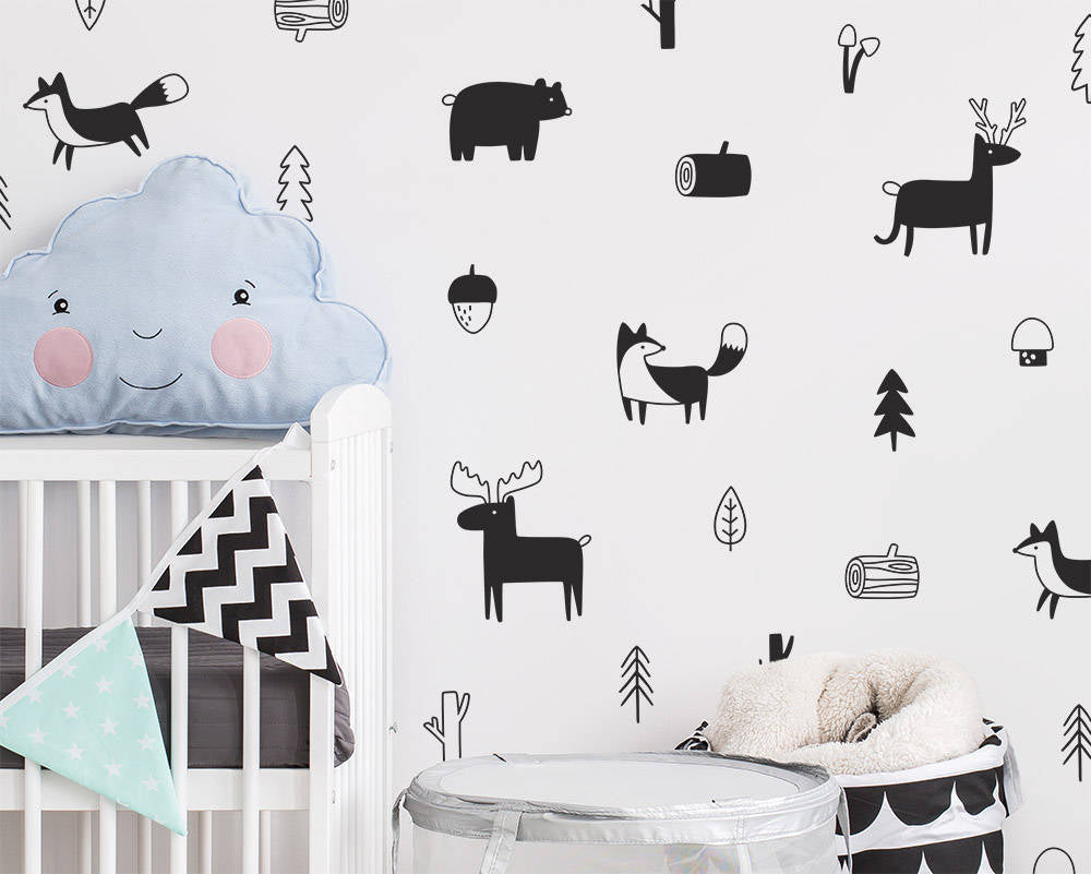 32 Piece Nordic Style Animal Wall Decal Set