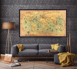 Vintage Nautical World Map Wall Decal