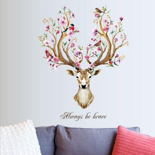 Floral Sika Deer Wall Decal Stickers
