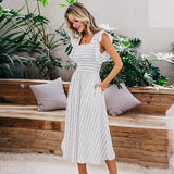 Simplee Vintage striped long dress