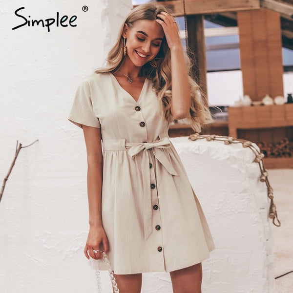 Simplee Vintage button women dress