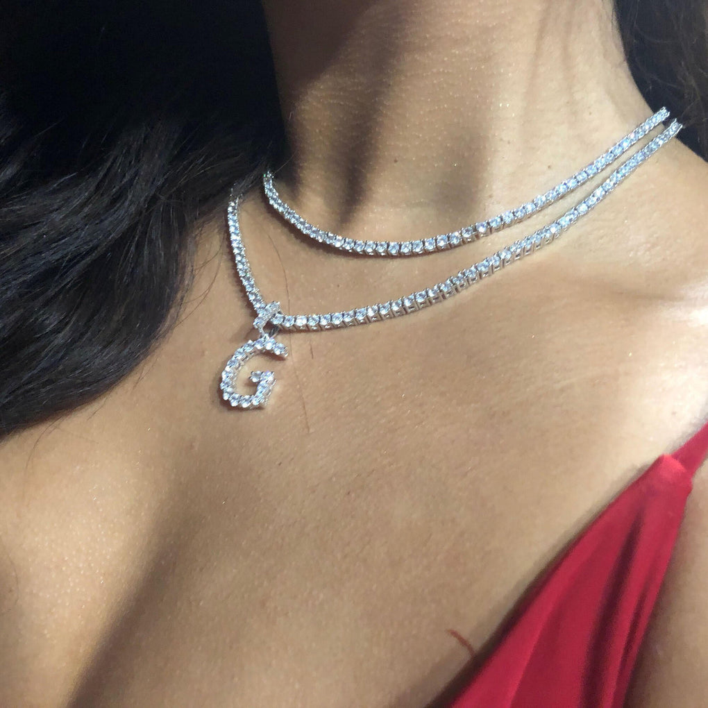 Diamond Initial + Round Cut Tennis Necklace