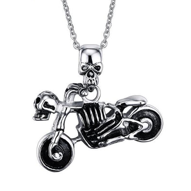 Gothic Biker Skull Motorcycle Necklace