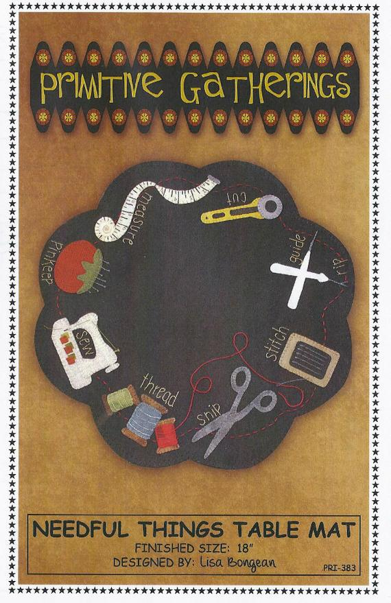 Needful Things Table Mat pattern by Primitive Cathering