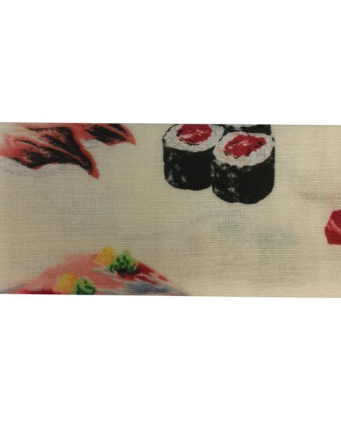 Chef Headband Sushi Prints on Cream Color fabric