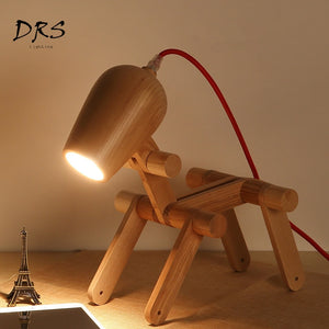 Modern Wooden Dog Desk Lamp-evasdog