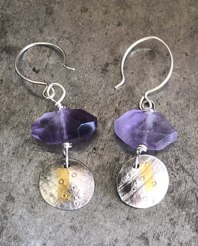 Amethyst, Silver and Gold Earrings