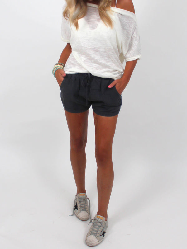 On My Way Drawstring Shorts | Charcoal