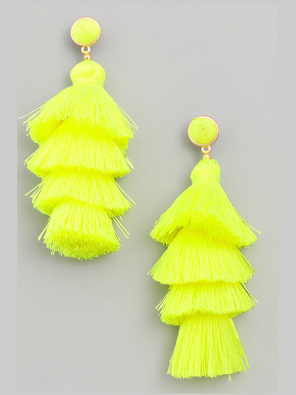 Neon Stacked Tassel Earrings