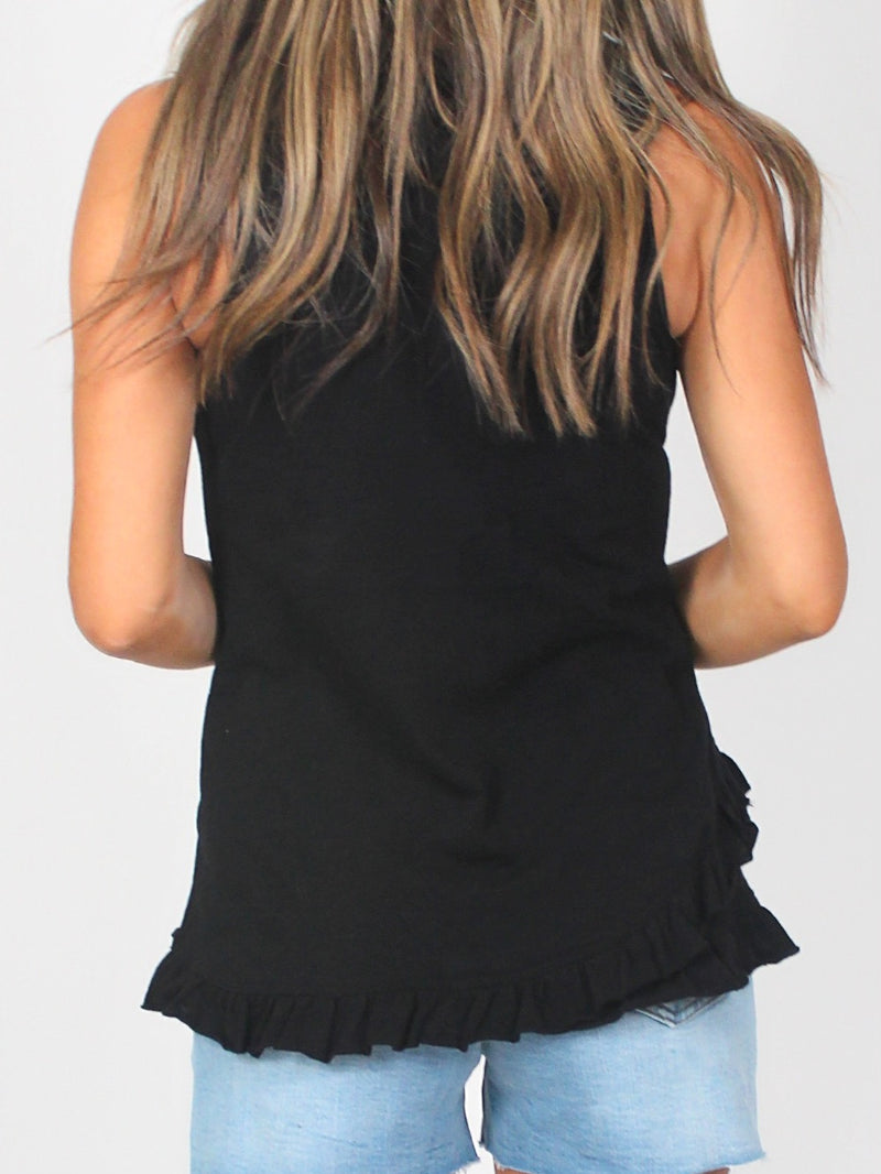 Ruffle Cotton Tank | Black