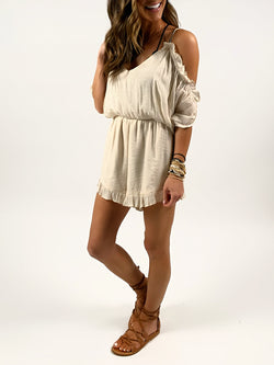 Ruffle Tie Romper | Cream FINAL SALE