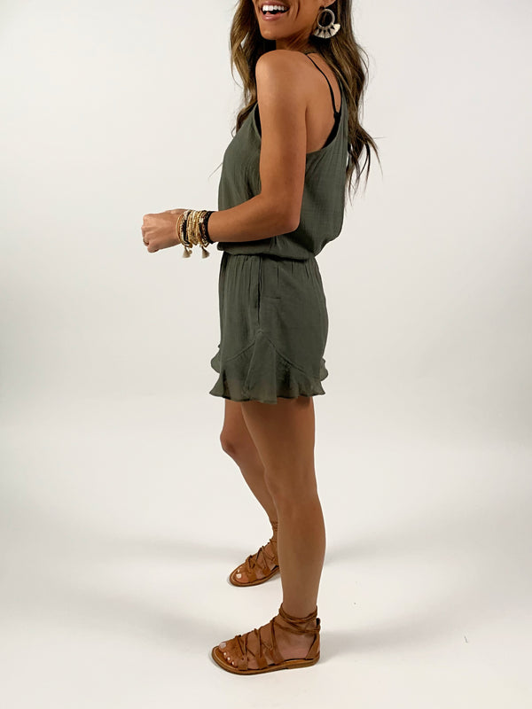 Open Back Romper | Olive FINAL SALE