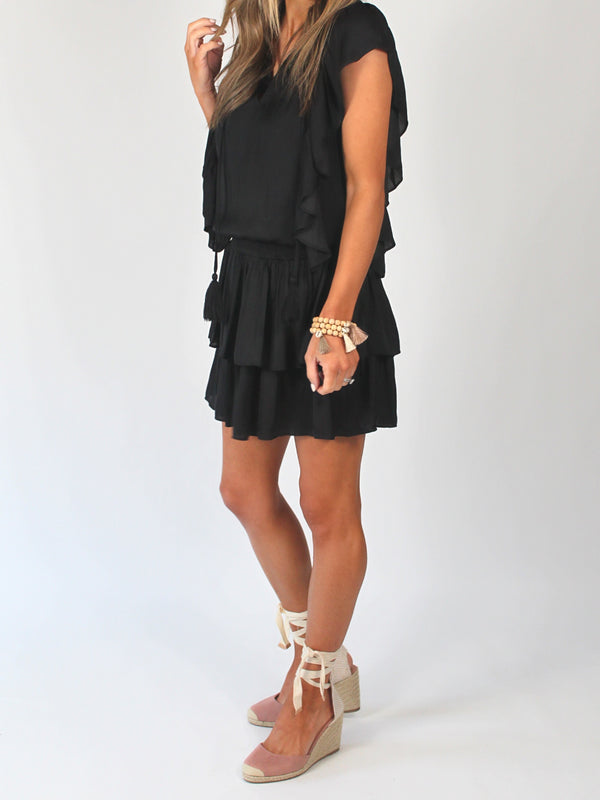 Penelope Ruffle Dress | Black