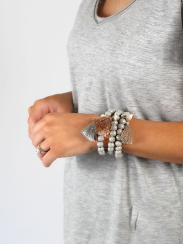 Beaded Tassel Stack | Grey