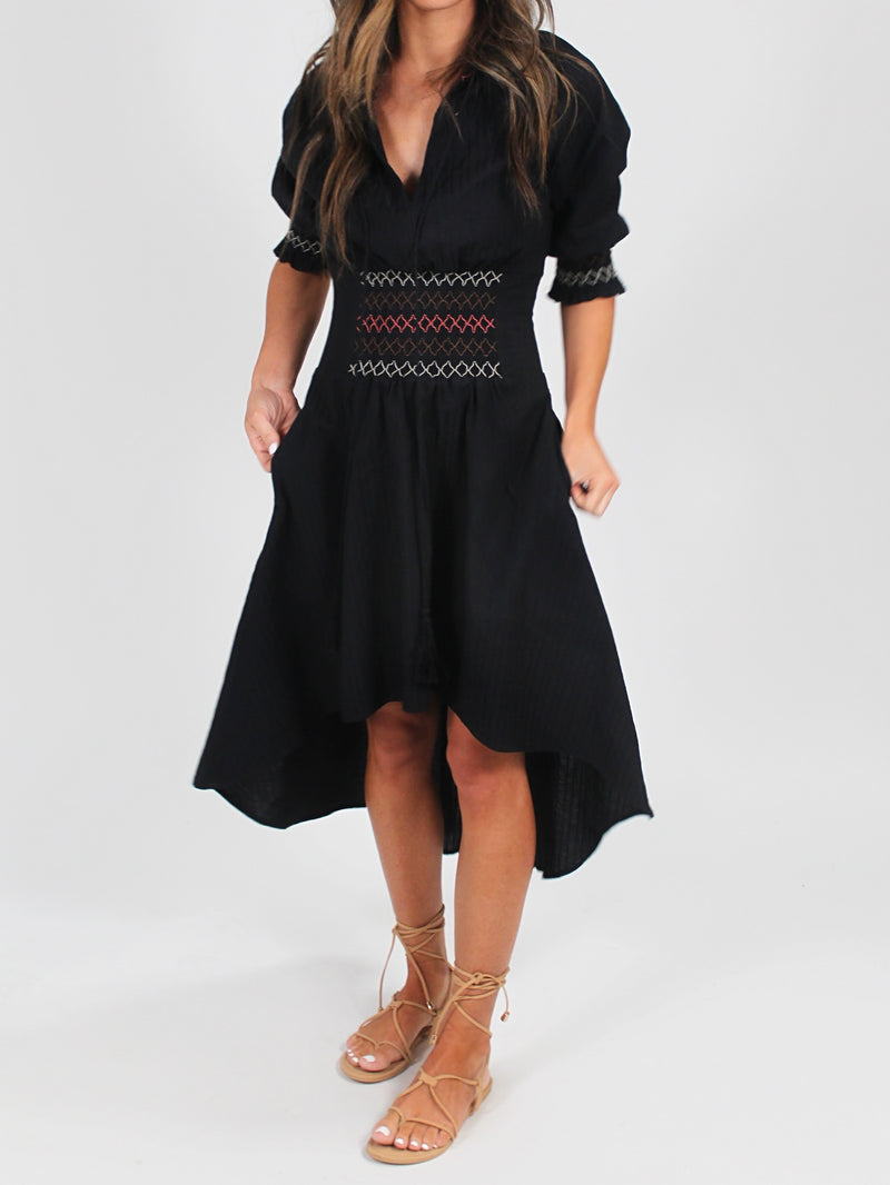 Smocked Hi-Low Dress | Black FINAL SALE