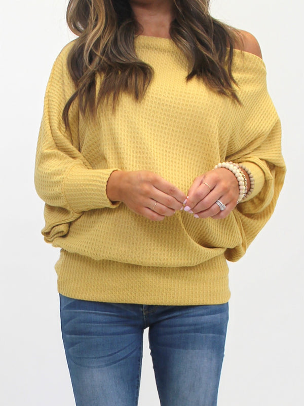 Waffle Off-The-Shoulder Top | Mustard