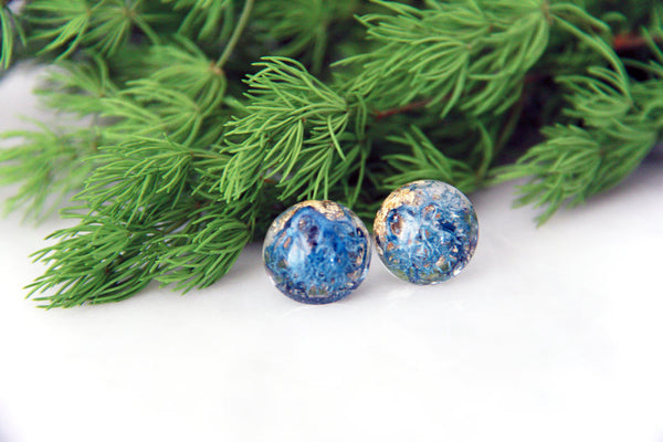 Botanical Earrings Real Azure Moss with Goldleaf