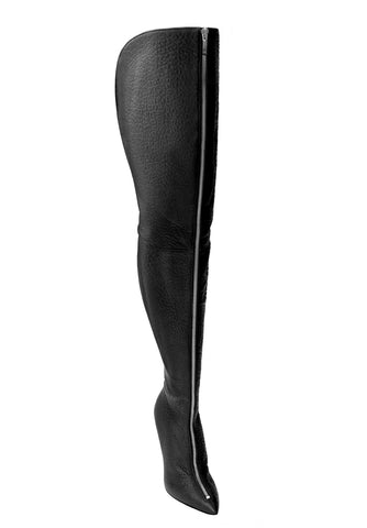 BLAIR X WIDE BLACK SILVER LEATHER THIGH-HIGH BOOT - Monika Chiang