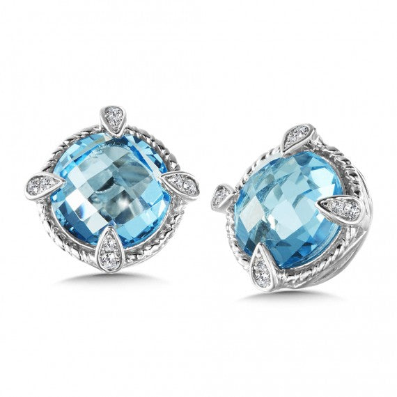 Color SG - Blue Topaz & Diamond Earrings