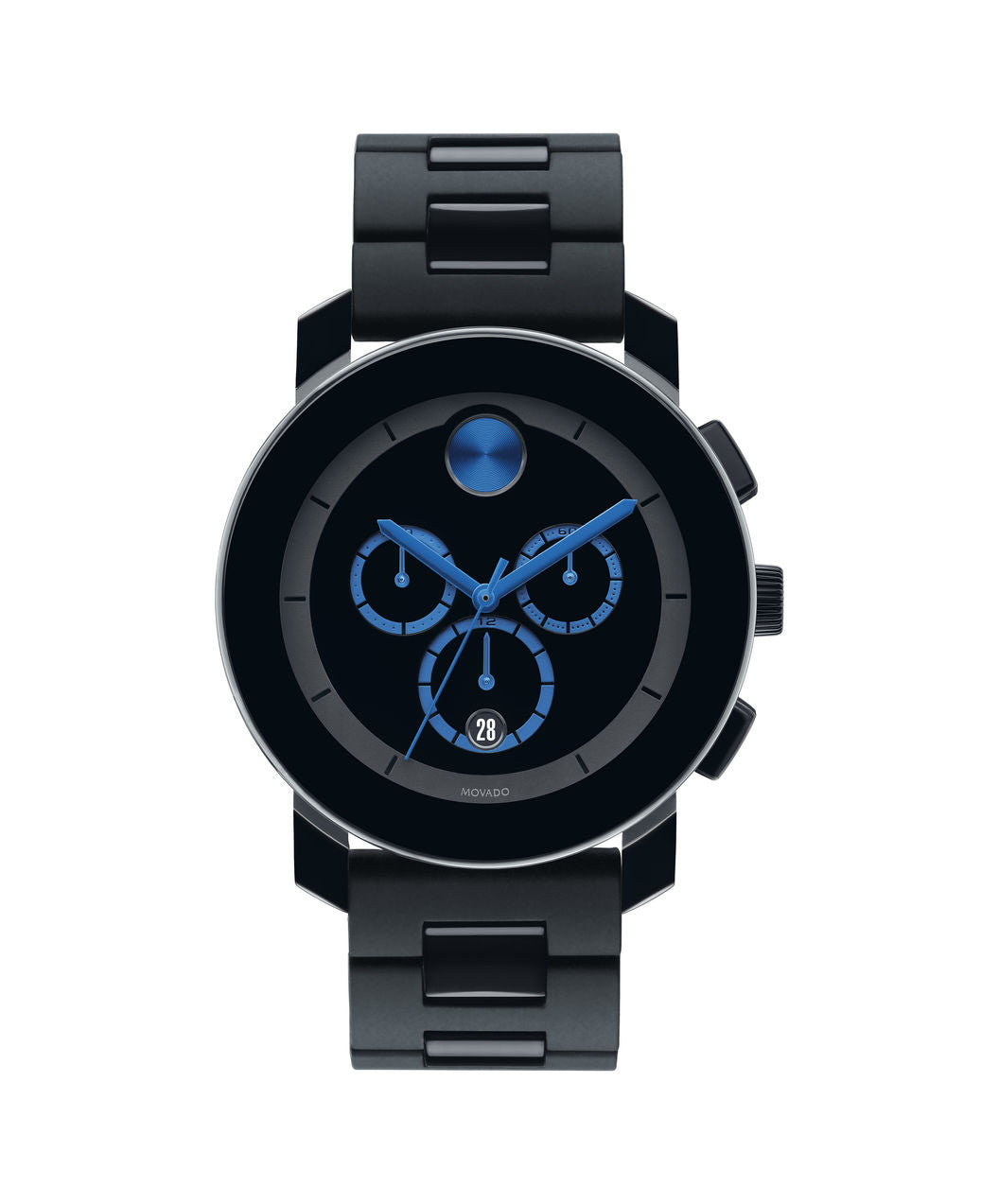 Movado Bold Large Black Chronograph Watch