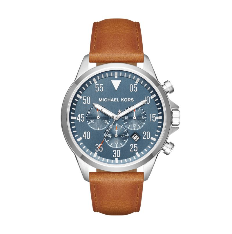 Michael Kors Men's Gage Brown Leather Watch