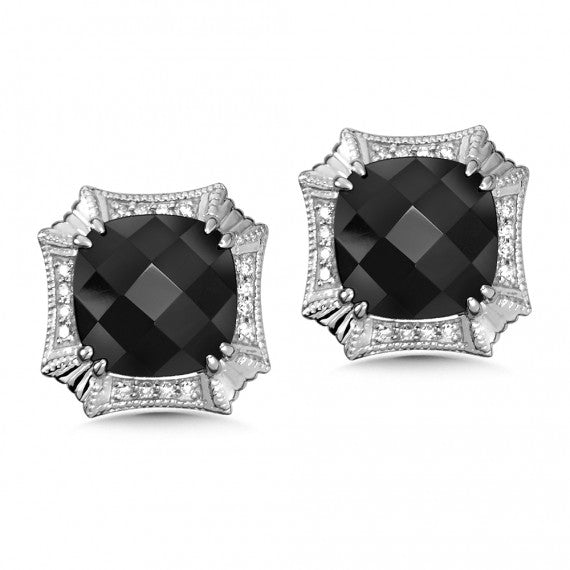 Color SG - Onyx and Diamond Post Earrings