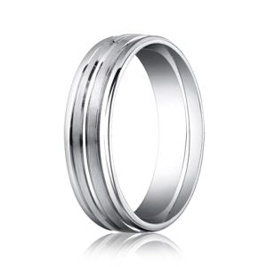 Benchmark White Gold Round Edge Men's Band