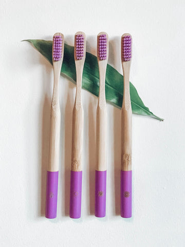 Bamboo toothbrushes with pink bristles and tip, plastic free alternatives