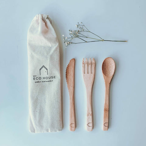 Bamboo cutlery with handy travel bag for plastic free living