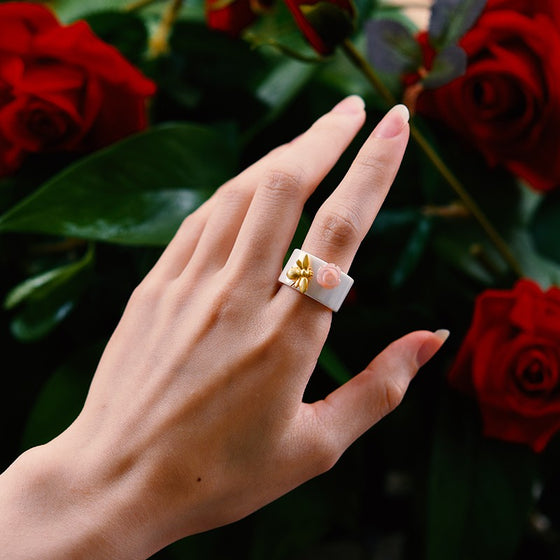 Handmade 'Bee Kiss from a Rose' Rings - Sterling Silver 925