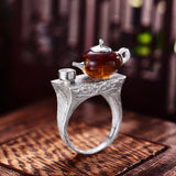 teapot shaped nature inspired rings